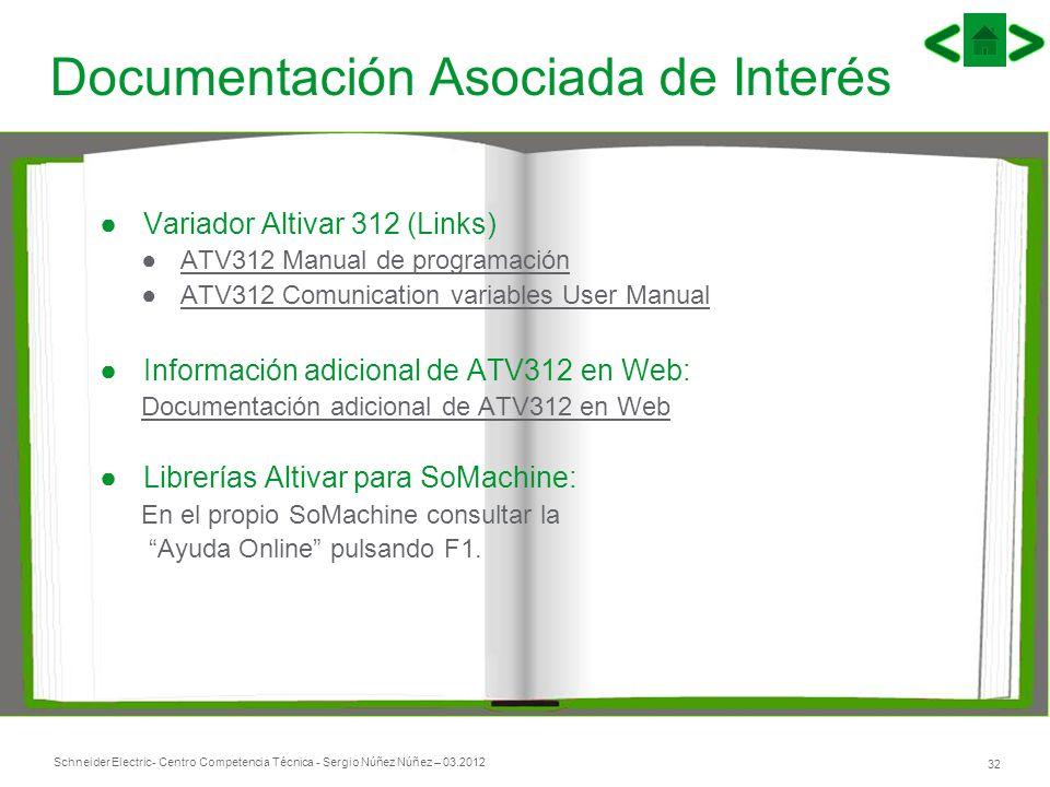Schneider Electric 32 - Centro Competencia Técnica - Sergio Núñez Núñez – 03.2012 Documentación Asociada de Interés Variador Altivar 312 (Links) ATV31
