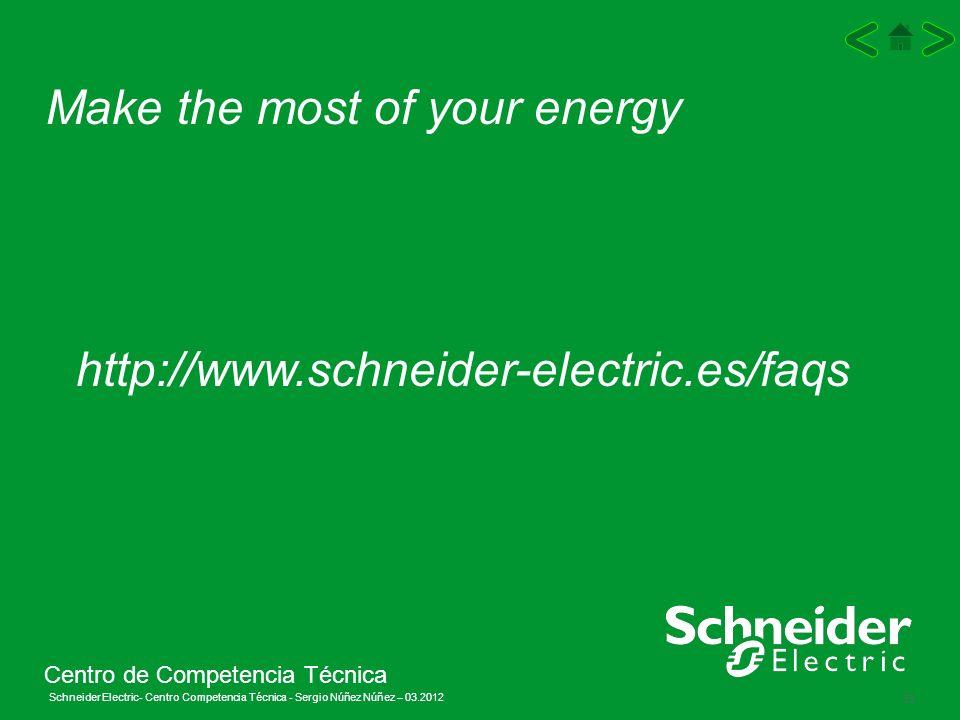 Schneider Electric 33 - Centro Competencia Técnica - Sergio Núñez Núñez – 03.2012 Make the most of your energy http://www.schneider-electric.es/faqs C