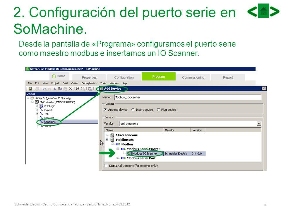 Schneider Electric 5 - Centro Competencia Técnica - Sergio Núñez Núñez – 03.2012 2. Configuración del puerto serie en SoMachine. Desde la pantalla de
