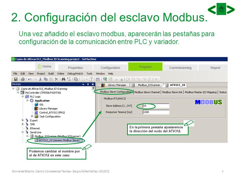Schneider Electric 7 - Centro Competencia Técnica - Sergio Núñez Núñez – 03.2012 2. Configuración del esclavo Modbus. Una vez añadido el esclavo modbu