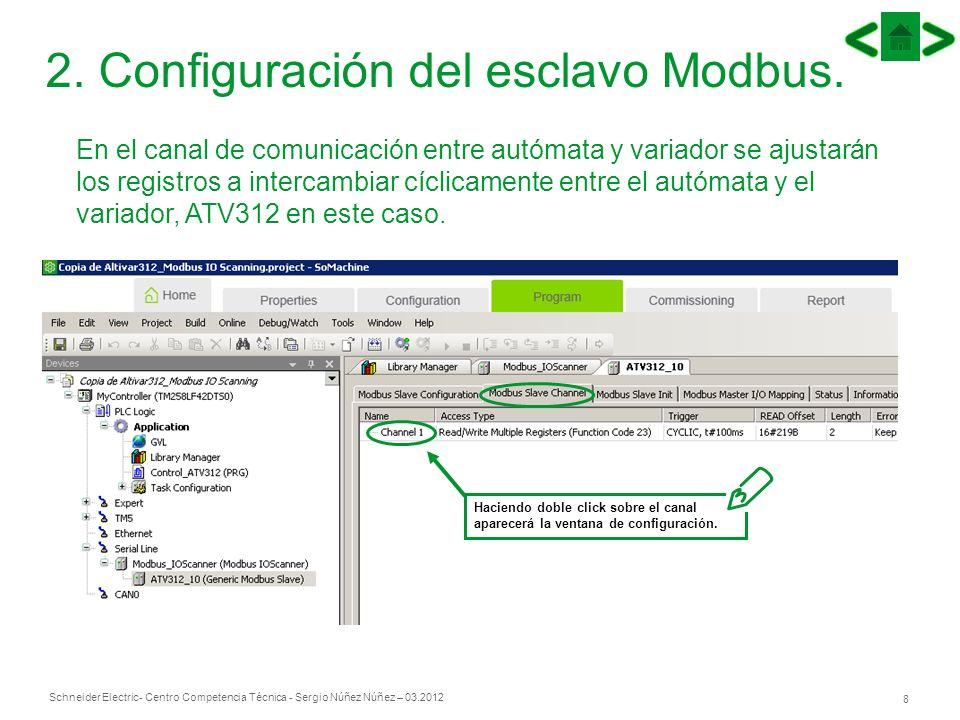 Schneider Electric 8 - Centro Competencia Técnica - Sergio Núñez Núñez – 03.2012 2. Configuración del esclavo Modbus. En el canal de comunicación entr
