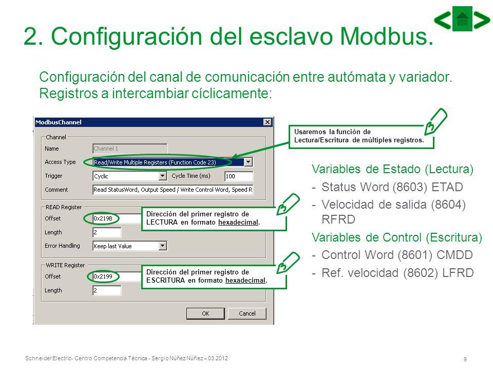Schneider Electric 9 - Centro Competencia Técnica - Sergio Núñez Núñez – 03.2012 2. Configuración del esclavo Modbus. Configuración del canal de comun