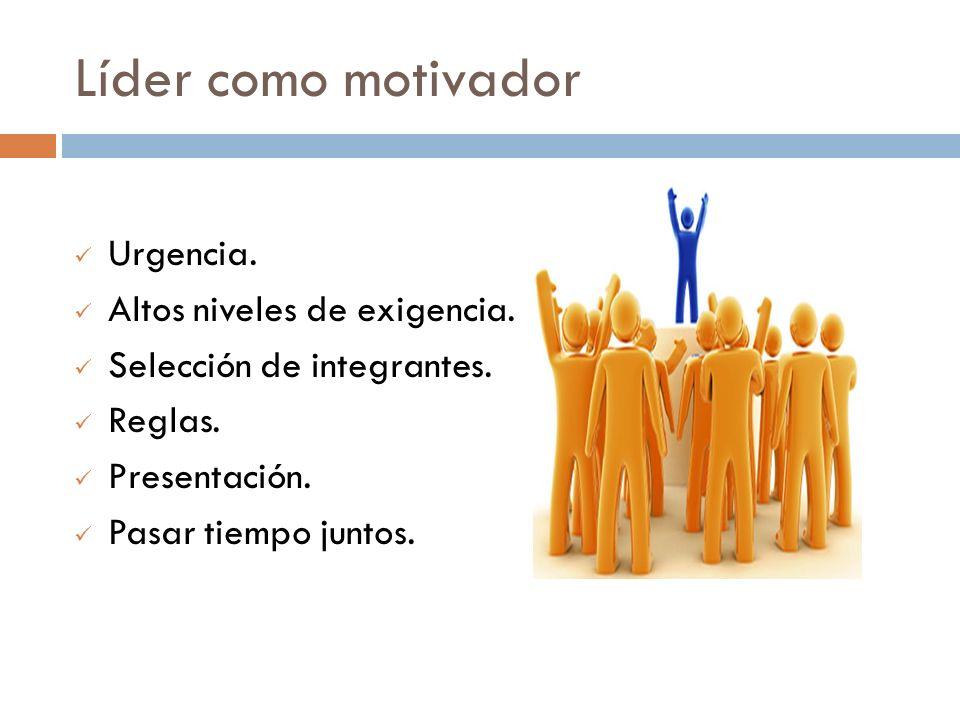 Líder como motivador Urgencia. Altos niveles de exigencia. Selección de integrantes. Reglas. Presentación. Pasar tiempo juntos.