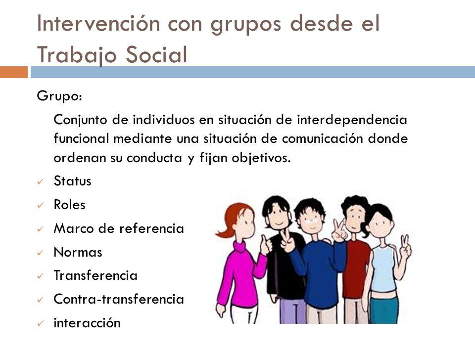 Intervención con grupos desde el Trabajo Social Grupo: Conjunto de individuos en situación de interdependencia funcional mediante una situación de com