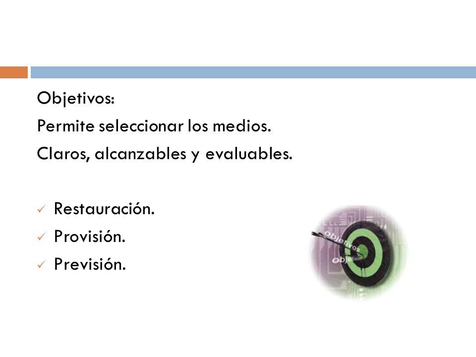 Objetivos: Permite seleccionar los medios. Claros, alcanzables y evaluables. Restauración. Provisión. Previsión.