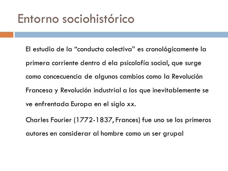 Entorno sociohistórico El estudio de la conducta colectiva es cronológicamente la primera corriente dentro d ela psicolofía social, que surge como con