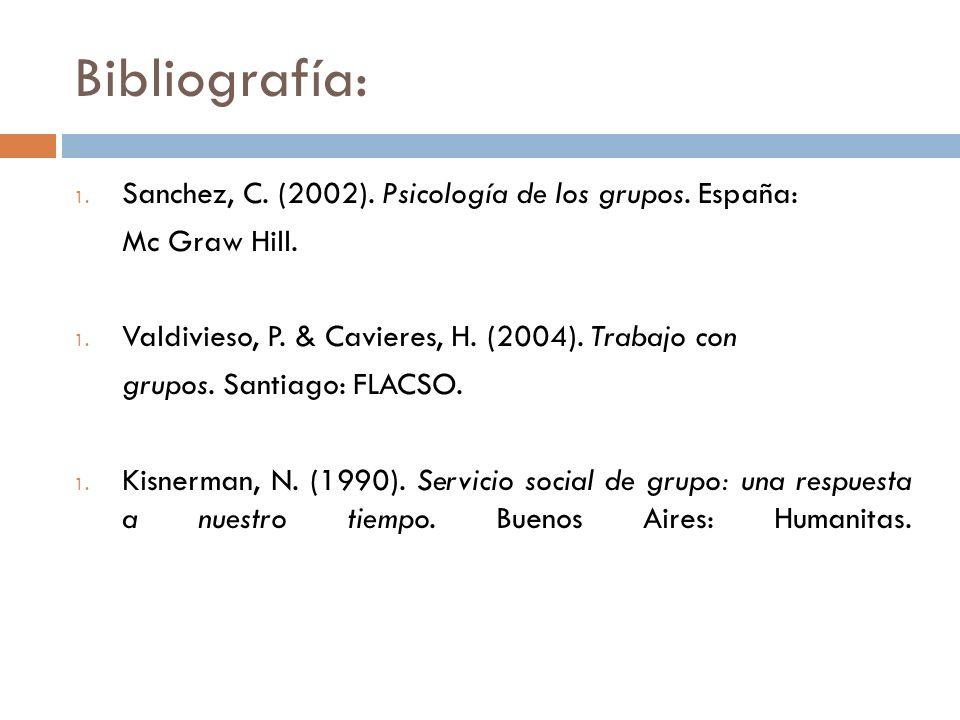 Bibliografía: 1. Sanchez, C. (2002). Psicología de los grupos. España: Mc Graw Hill. 1. Valdivieso, P. & Cavieres, H. (2004). Trabajo con grupos. Sant