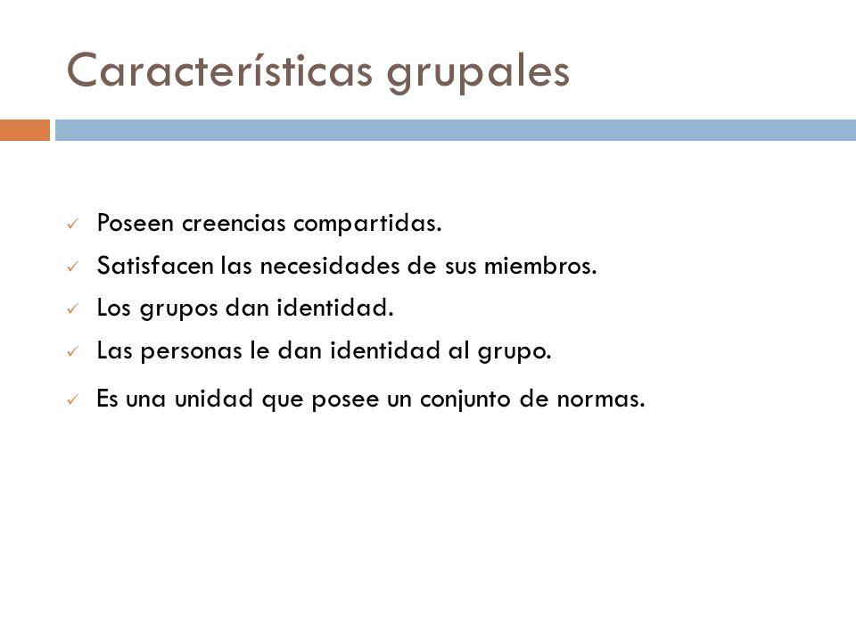 Características grupales Poseen creencias compartidas. Satisfacen las necesidades de sus miembros. Los grupos dan identidad. Las personas le dan ident