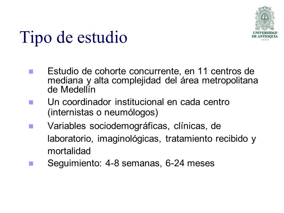 Tipo de estudio Estudio de cohorte concurrente, en 11 centros de mediana y alta complejidad del área metropolitana de Medellín Un coordinador instituc