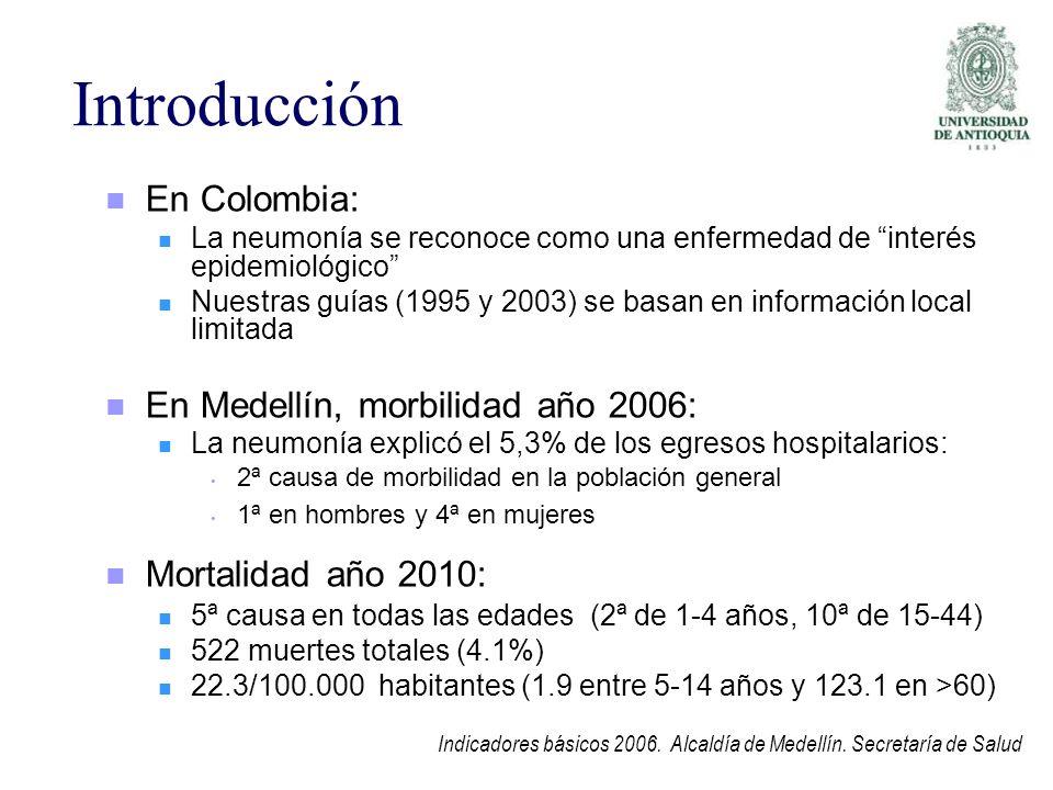 Introducción En Colombia: La neumonía se reconoce como una enfermedad de interés epidemiológico Nuestras guías (1995 y 2003) se basan en información l