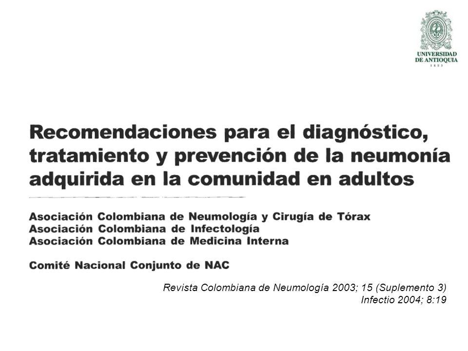 Guías Colombianas de NAC Revista Colombiana de Neumología 2003; 15 (Suplemento 3) Infectio 2004; 8:19