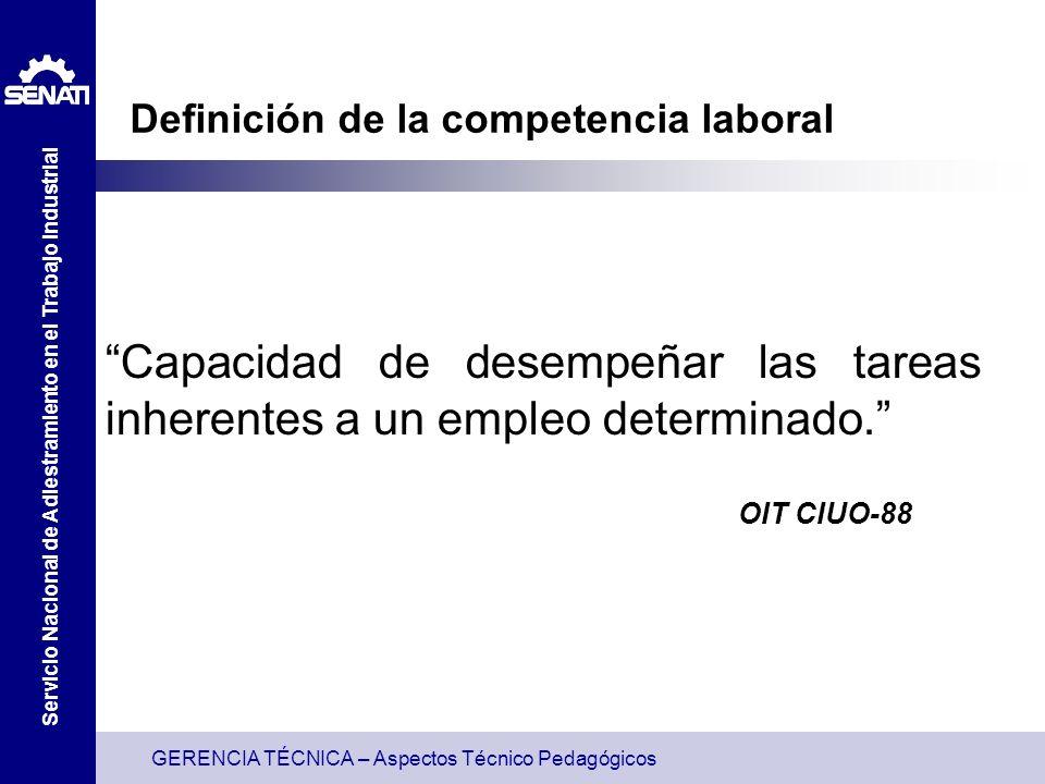 GERENCIA TÉCNICA – Aspectos Técnico Pedagógicos Servicio Nacional de Adiestramiento en el Trabajo Industrial Definición de la competencia laboral Capacidad de desempeñar las tareas inherentes a un empleo determinado.