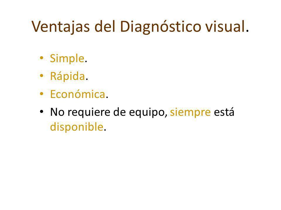 Ventajas del Diagnóstico visual. Simple. Rápida. Económica. No requiere de equipo, siempre está disponible.
