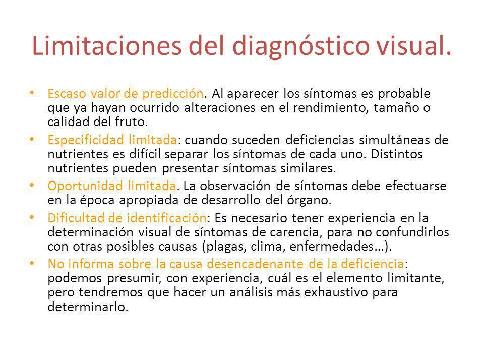 Limitaciones del diagnóstico visual. Escaso valor de predicción. Al aparecer los síntomas es probable que ya hayan ocurrido alteraciones en el rendimi
