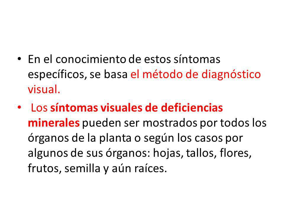 En el conocimiento de estos síntomas específicos, se basa el método de diagnóstico visual. Los síntomas visuales de deficiencias minerales pueden ser
