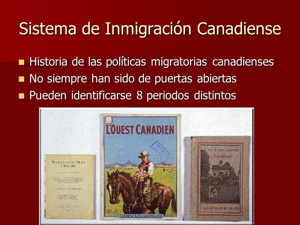 Sistema de Inmigración Canadiense Historia de las políticas migratorias canadienses Historia de las políticas migratorias canadienses No siempre han s