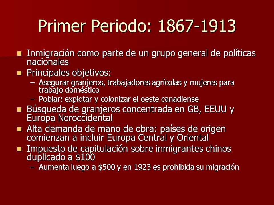 Primer Periodo: 1867-1913 Inmigración como parte de un grupo general de políticas nacionales Inmigración como parte de un grupo general de políticas n