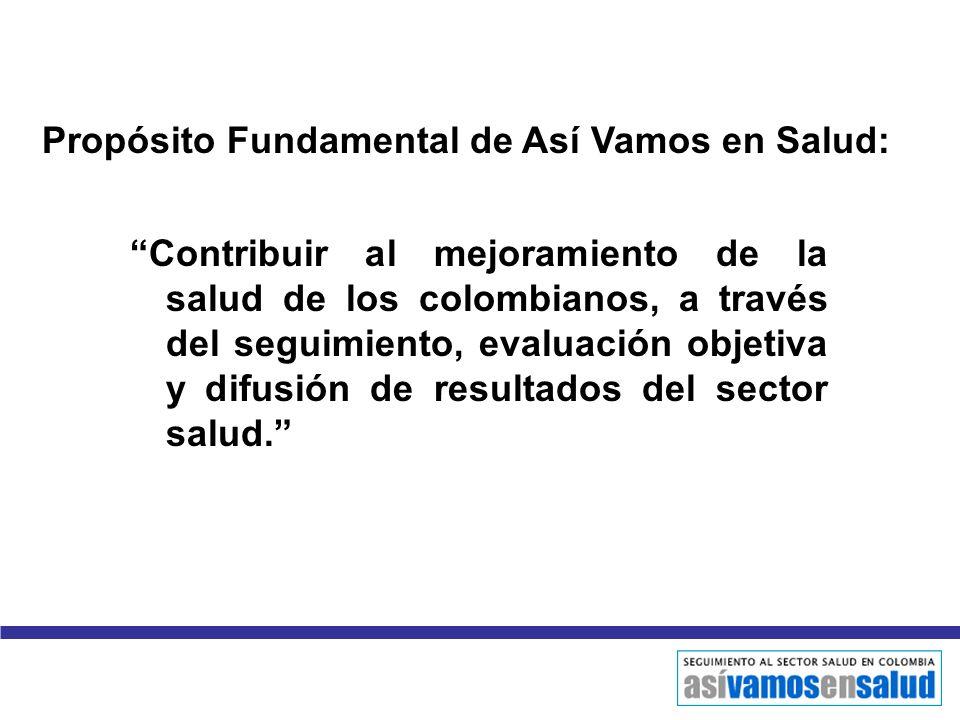 Contribuir al mejoramiento de la salud de los colombianos, a través del seguimiento, evaluación objetiva y difusión de resultados del sector salud. Pr