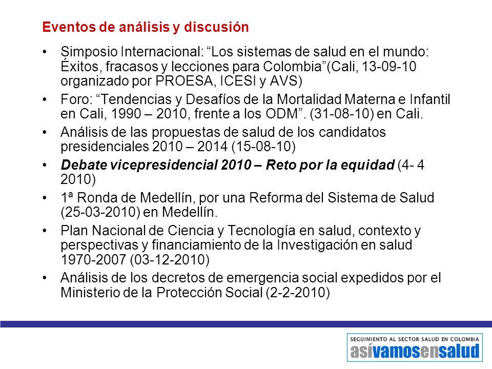 Eventos de análisis y discusión Simposio Internacional: Los sistemas de salud en el mundo: Éxitos, fracasos y lecciones para Colombia(Cali, 13-09-10 o