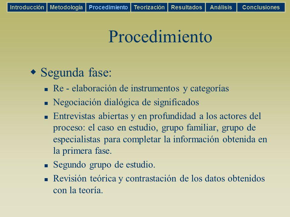 Procedimiento Segunda fase: Re - elaboración de instrumentos y categorías Negociación dialógica de significados Entrevistas abiertas y en profundidad