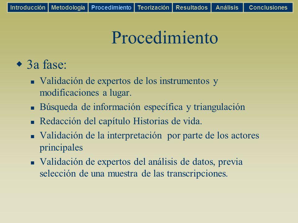 Procedimiento 3a fase: Validación de expertos de los instrumentos y modificaciones a lugar. Búsqueda de información específica y triangulación Redacci