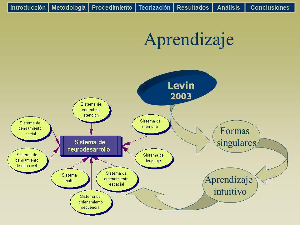 Aprendizaje IntroducciónMetodologíaProcedimientoTeorizaciónResultadosAnálisisConclusiones Levin 2003 Formas singulares Aprendizaje intuitivo