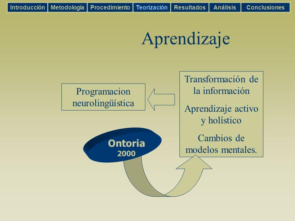 Aprendizaje IntroducciónMetodologíaProcedimientoTeorizaciónResultadosAnálisisConclusiones Transformación de la información Aprendizaje activo y holíst