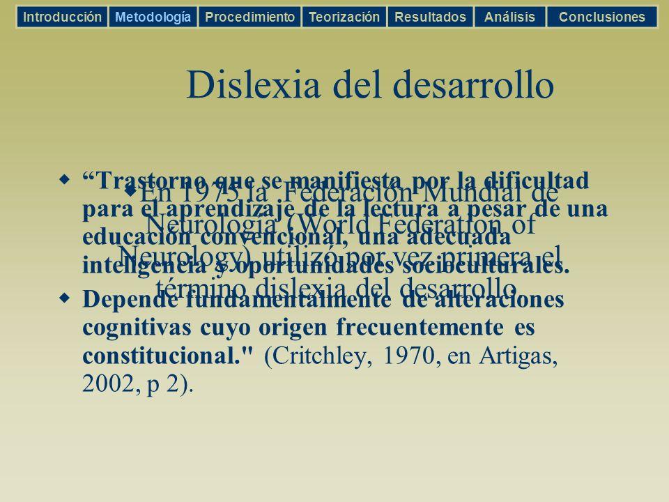 Aprendizaje IntroducciónMetodologíaProcedimientoTeorizaciónResultadosAnálisisConclusiones Shaywitz 2003 Debilidades: procesamiento verbal.