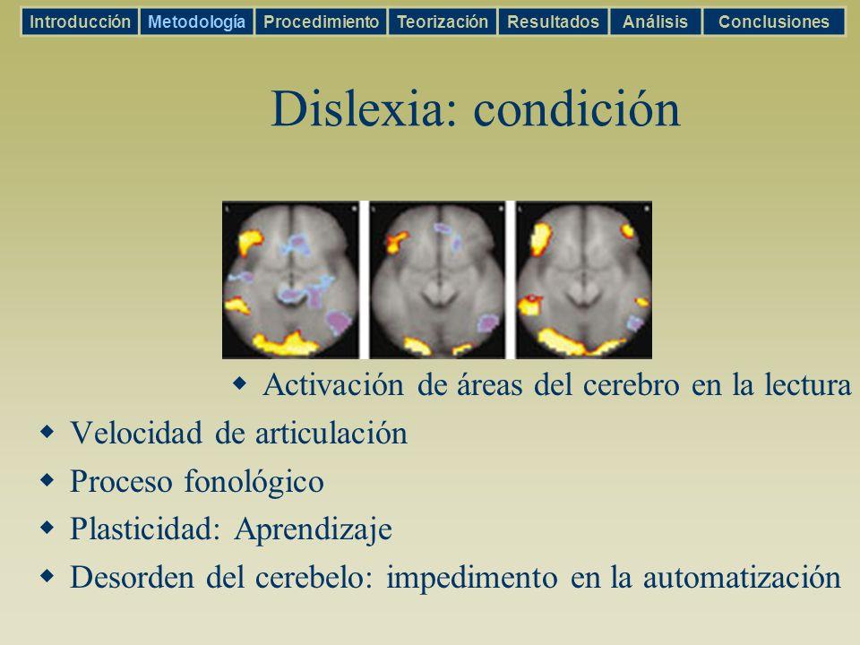 Dislexia: condición Activación de áreas del cerebro en la lectura Velocidad de articulación Proceso fonológico Plasticidad: Aprendizaje Desorden del c