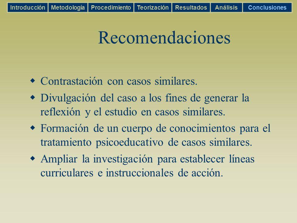 Recomendaciones Contrastación con casos similares. Divulgación del caso a los fines de generar la reflexión y el estudio en casos similares. Formación