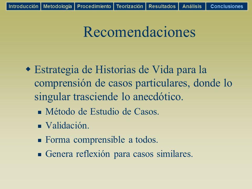 Recomendaciones Estrategia de Historias de Vida para la comprensión de casos particulares, donde lo singular trasciende lo anecdótico. Método de Estud