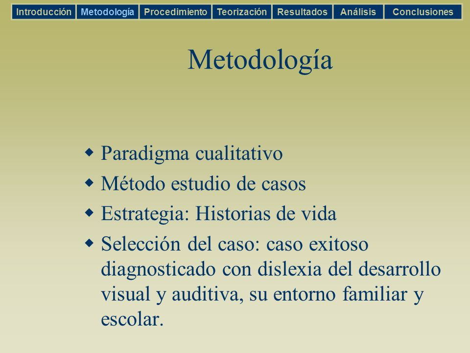 Metodología Paradigma cualitativo Método estudio de casos Estrategia: Historias de vida Selección del caso: caso exitoso diagnosticado con dislexia de