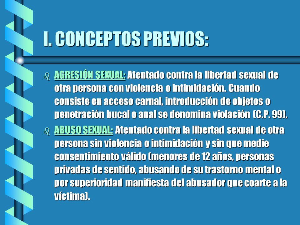 I. CONCEPTOS PREVIOS: b AGRESIÓN SEXUAL: Atentado contra la libertad sexual de otra persona con violencia o intimidación. Cuando consiste en acceso ca