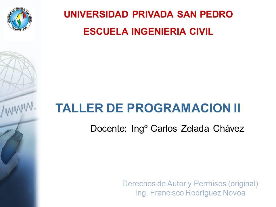 UNIVERSIDAD PRIVADA SAN PEDRO ESCUELA INGENIERIA CIVIL Derechos de Autor y Permisos (original) Ing. Francisco Rodríguez Novoa TALLER DE PROGRAMACION I