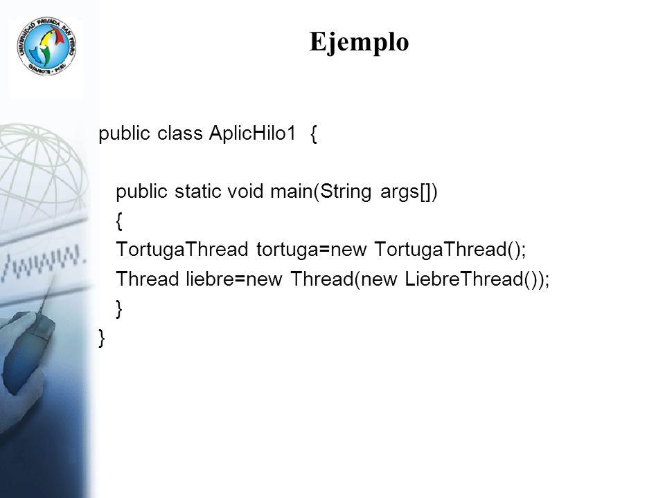 Ejemplo public class AplicHilo1 { public static void main(String args[]) { TortugaThread tortuga=new TortugaThread(); Thread liebre=new Thread(new Lie