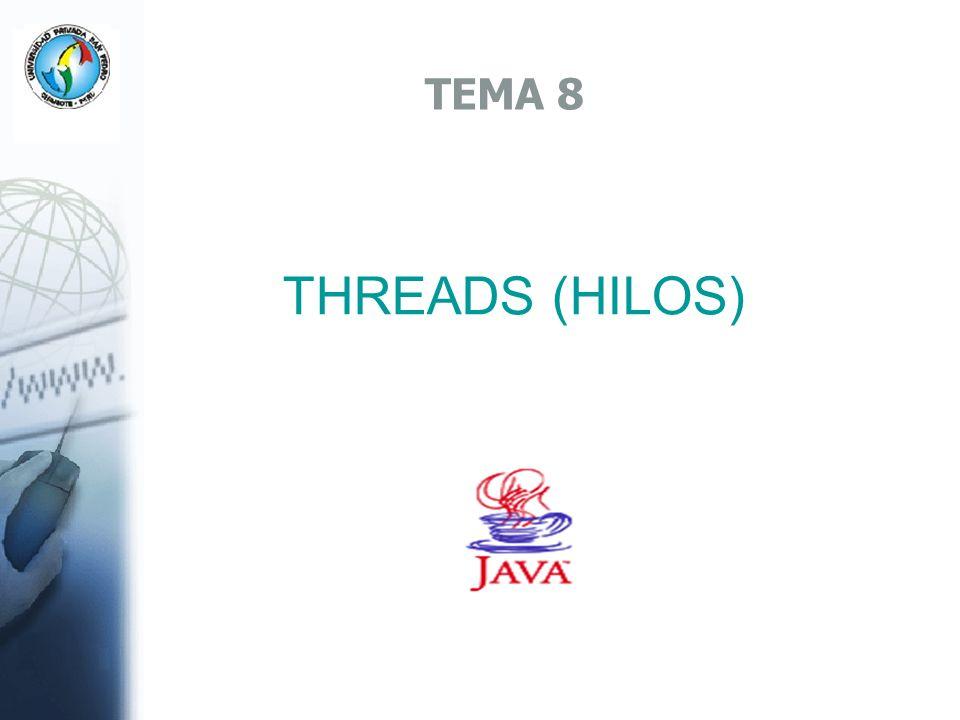 Ejemplo Hilos public class TortugaThread extends Thread { public void run() { int i=0; System.out.println( Comienza la tortuga.. ); while(i<5) { try { Thread.sleep(5000); System.out.println( Tortuga.. ); } catch(InterruptedException ex) { } i++; } System.out.println( Termina la tortuga ); }