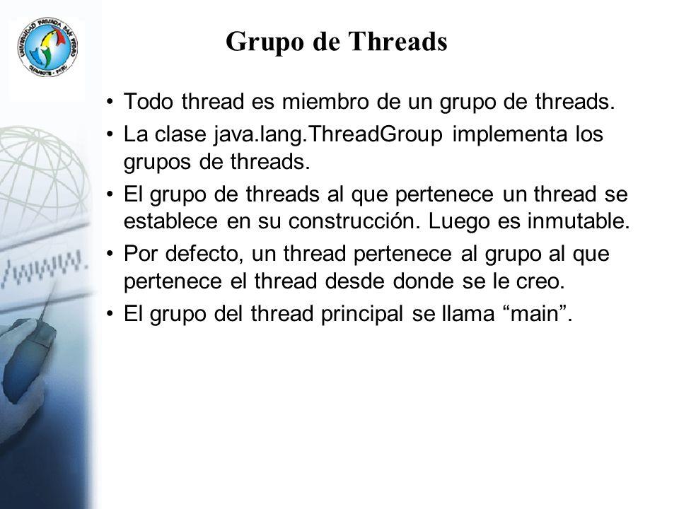 Grupo de Threads Todo thread es miembro de un grupo de threads. La clase java.lang.ThreadGroup implementa los grupos de threads. El grupo de threads a