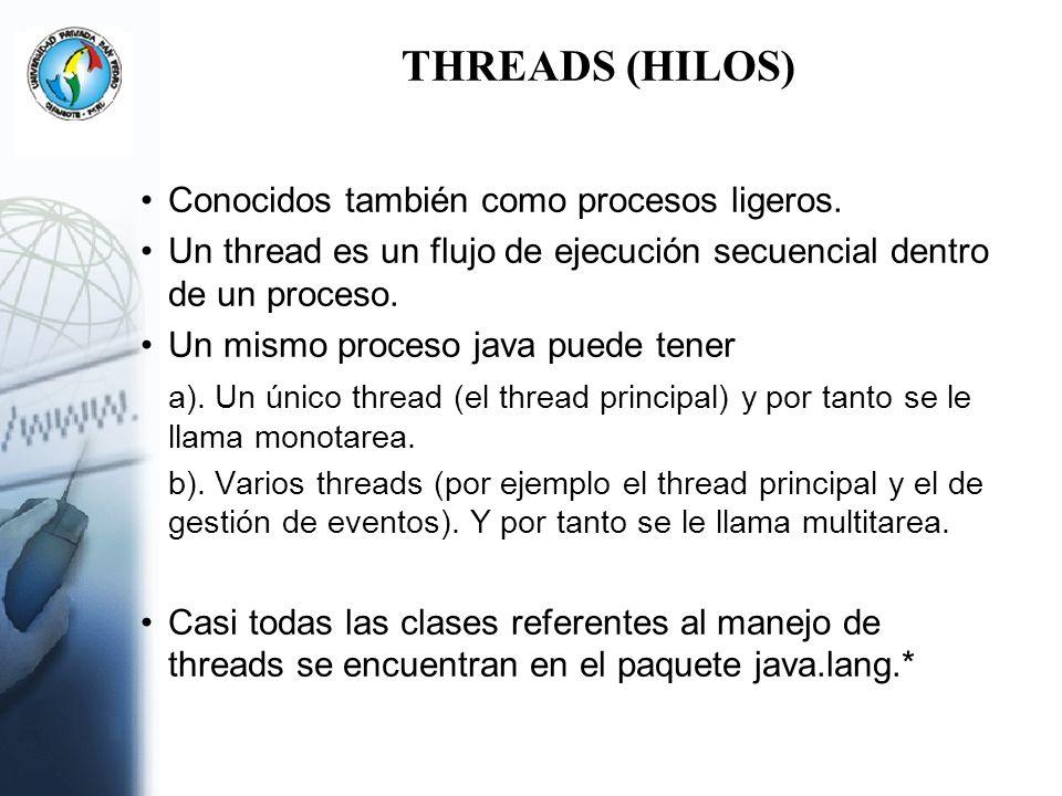 Ejemplo (cont..) import java.io.*; import java.lang.*; public class LiebreThread implements Runnable { public void run() { int i=0; System.out.println( Comienza la liebre.. ); while(i<5) { try { Thread.sleep(2000); System.out.println( Liebre.. ); } catch(InterruptedException ex) { } i++; } System.out.println( Termina la liebre ); }