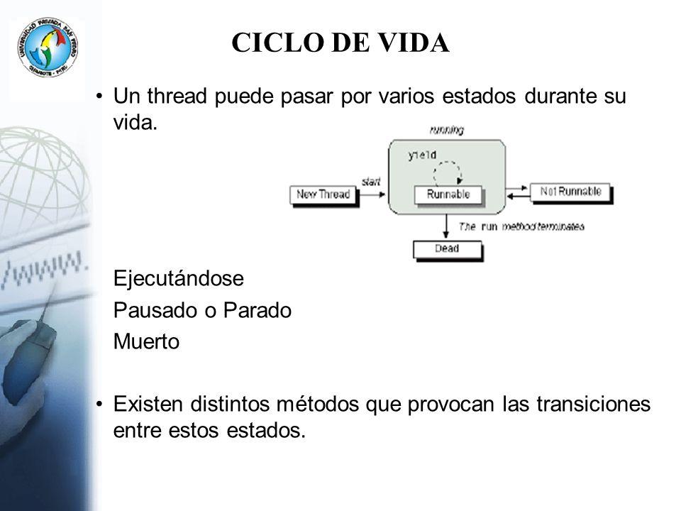 Uso de Señales Este es un sistema mediante el cual un thread puede detener su ejecución a la espera de una señal lanzada por otro thread.