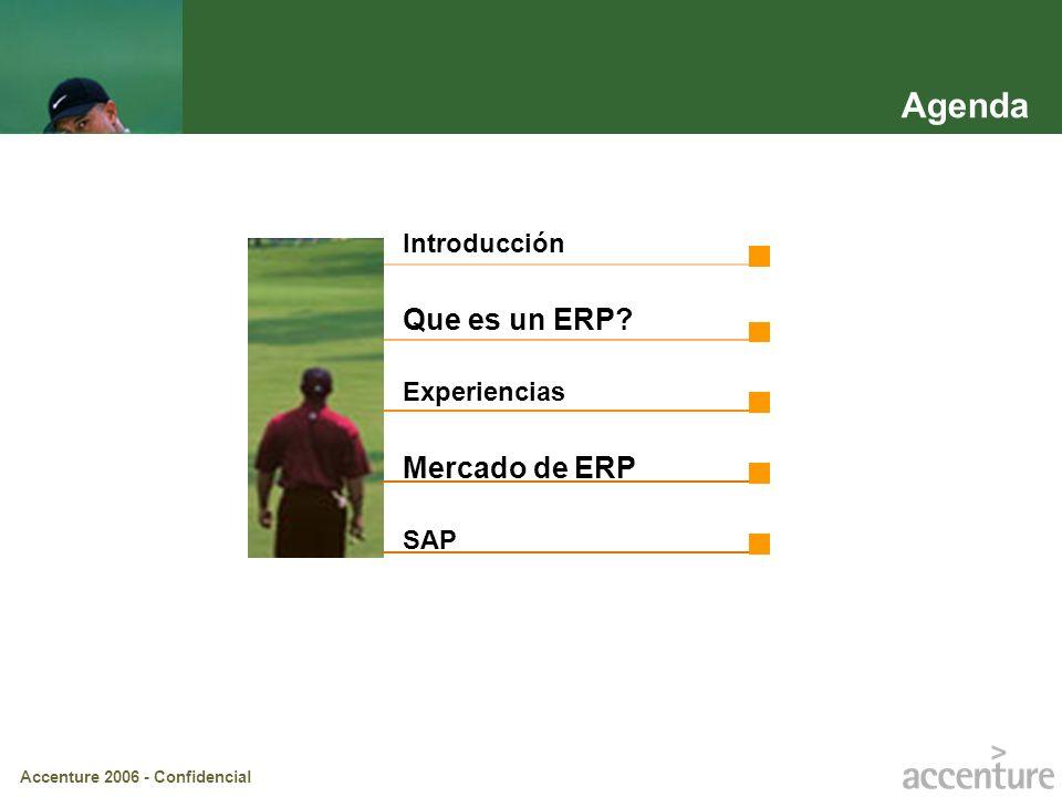 Accenture 2006 - Confidencial Agenda Introducción Que es un ERP? Experiencias Mercado de ERP SAP