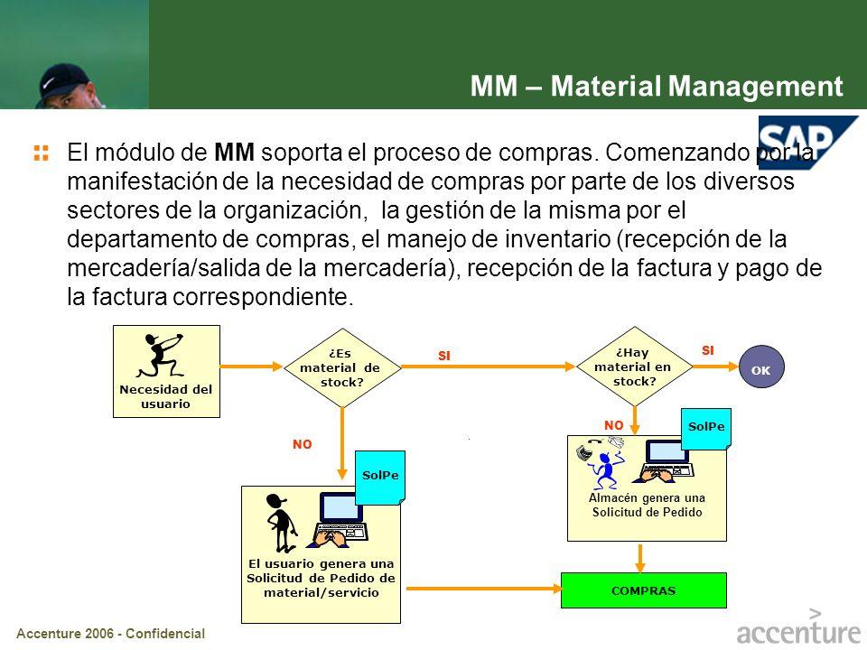 Accenture 2006 - Confidencial El usuario genera una Solicitud de Pedido de material/servicio SolPe 2 ¿Es material de stock? Necesidad del usuario SI N