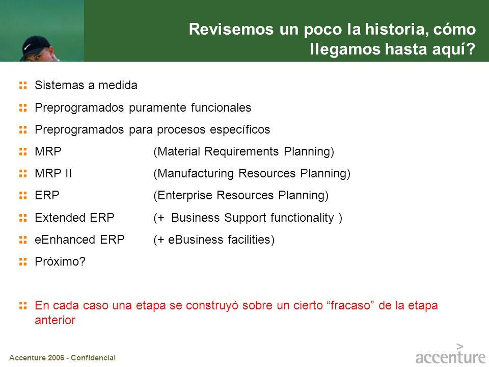 Accenture 2006 - Confidencial ERP (Enterprise Resources Planning) Un sistema ERP es un conjunto de programas integrados que apoya las principales actividades de organizacionales tales como producción y logística, finanzas y contabilidad, ventas y recursos humanos.