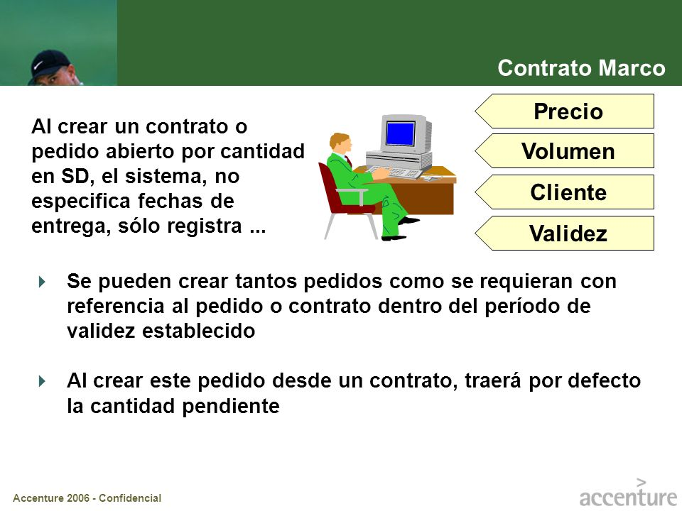 Accenture 2006 - Confidencial Al crear un contrato o pedido abierto por cantidad en SD, el sistema, no especifica fechas de entrega, sólo registra...