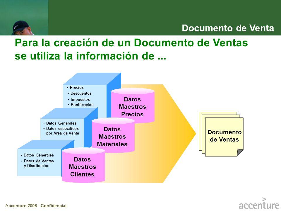 Accenture 2006 - Confidencial Datos Maestros Precios Datos Maestros Materiales Datos Maestros Clientes Documento de Ventas Para la creación de un Docu
