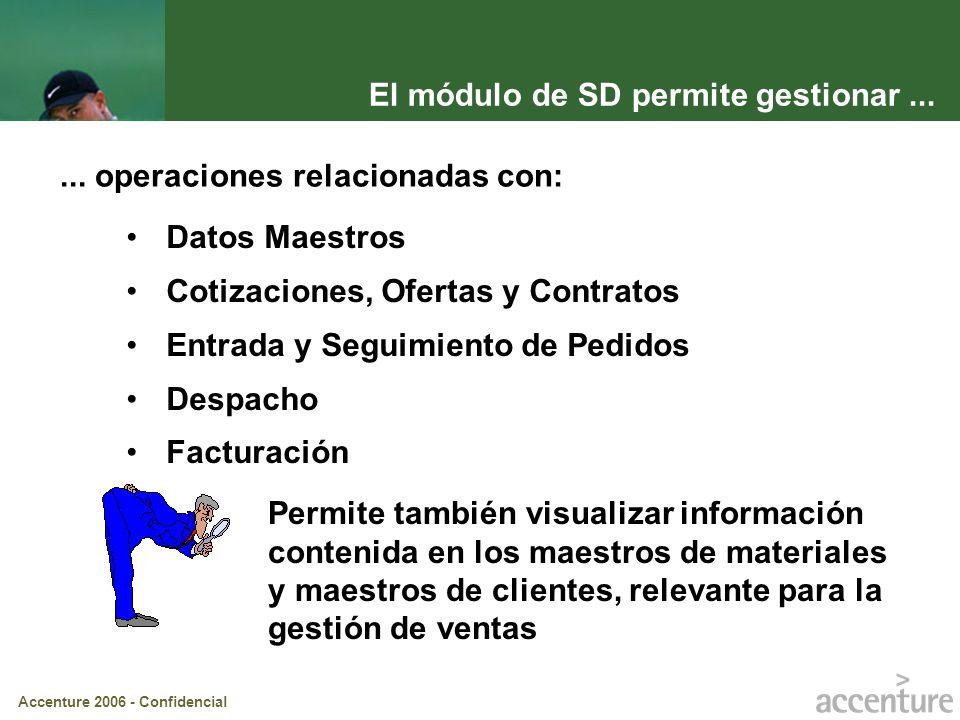Accenture 2006 - Confidencial El módulo de SD permite gestionar...... operaciones relacionadas con: Datos Maestros Cotizaciones, Ofertas y Contratos E