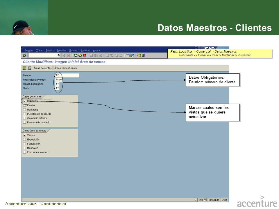 Accenture 2006 - Confidencial Datos Maestros – Clientes (cont.) Con estos botones se avanza de a una las vistas de ventas Pasar a: Permite navegar por las distintas vistas del maestro de clientes