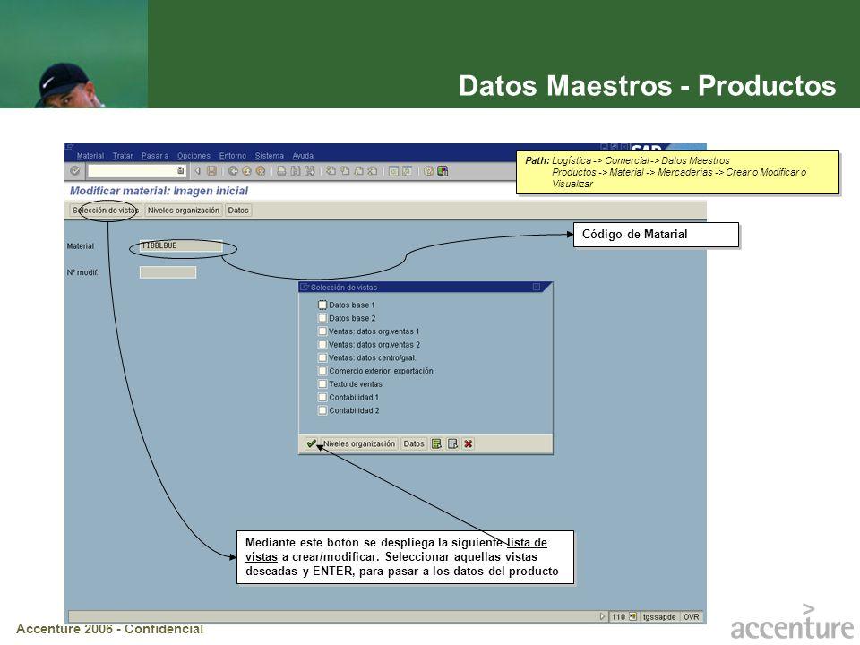 Accenture 2006 - Confidencial Datos Maestros – Productos (cont.) Se abre la siguiente ventana requiriendo los datos organizativos del Centro, la Organización de Ventas y l Canal de Distribución.