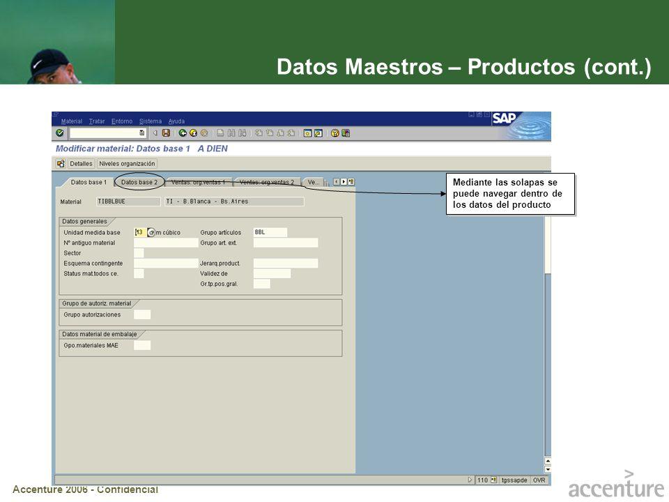 Accenture 2006 - Confidencial Datos Maestros – Productos (cont.) Mediante las solapas se puede navegar dentro de los datos del producto