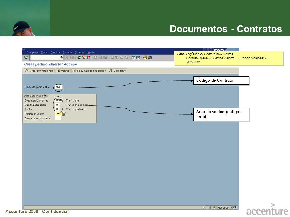 Accenture 2006 - Confidencial Documentos - Contratos Área de ventas (obliga- toria) Código de Contrato Path: Logística -> Comercial -> Ventas Contrato