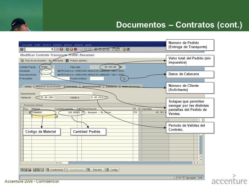 Accenture 2006 - Confidencial Documentos – Contratos (cont.) Período de Validez del Contrato. Número de Pedido (Entrega de Transporte) Número de Clien